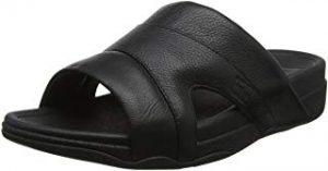 Robusta y economica sandalia de cuero negro para hombre